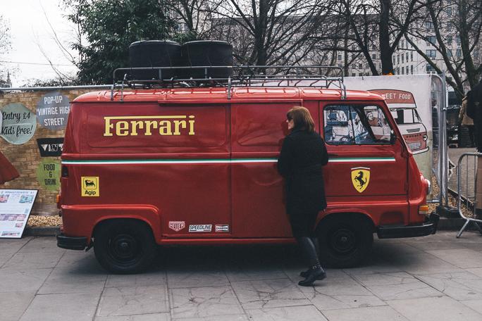 vintage Ferrari van