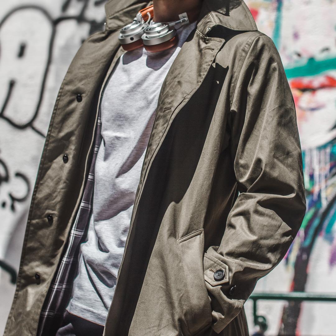 green trench coat menswear