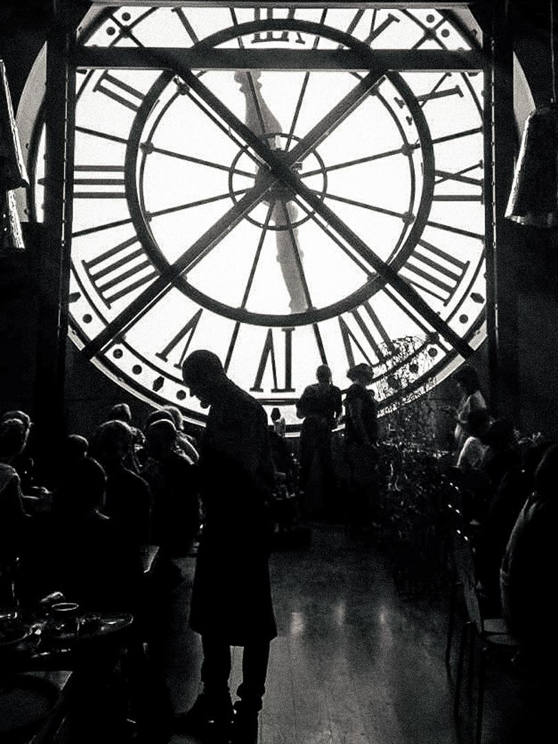 black white museum clock